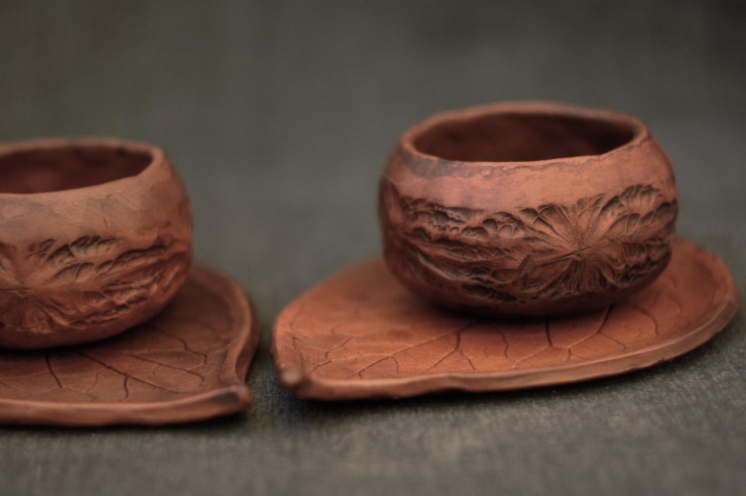Handmade pottery leaf mugs set of 2 mugs nature mugs