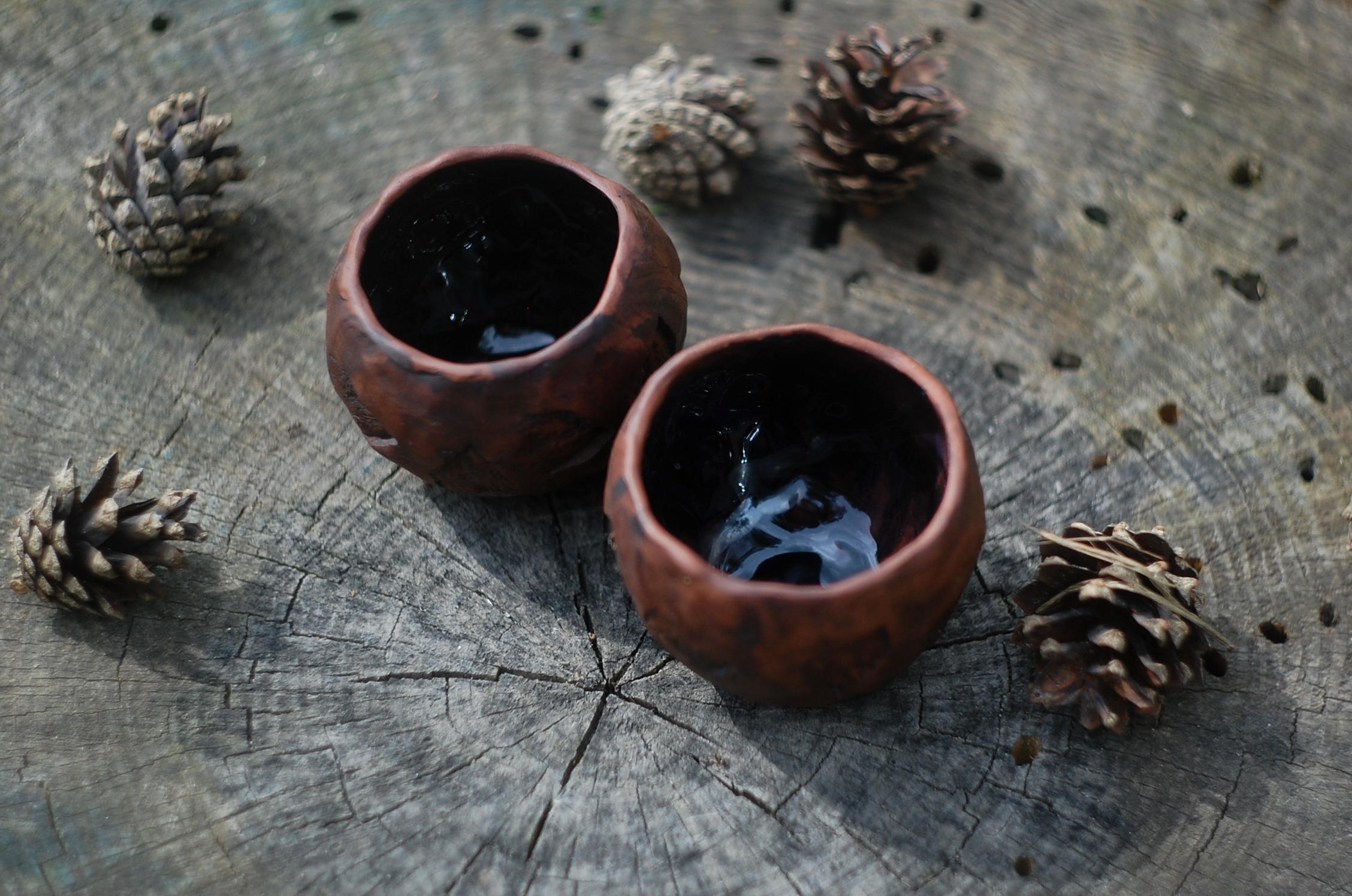 Handmade pottery mug set of 4 or mug set of 3 mugs ceramic pottery coffee mug set