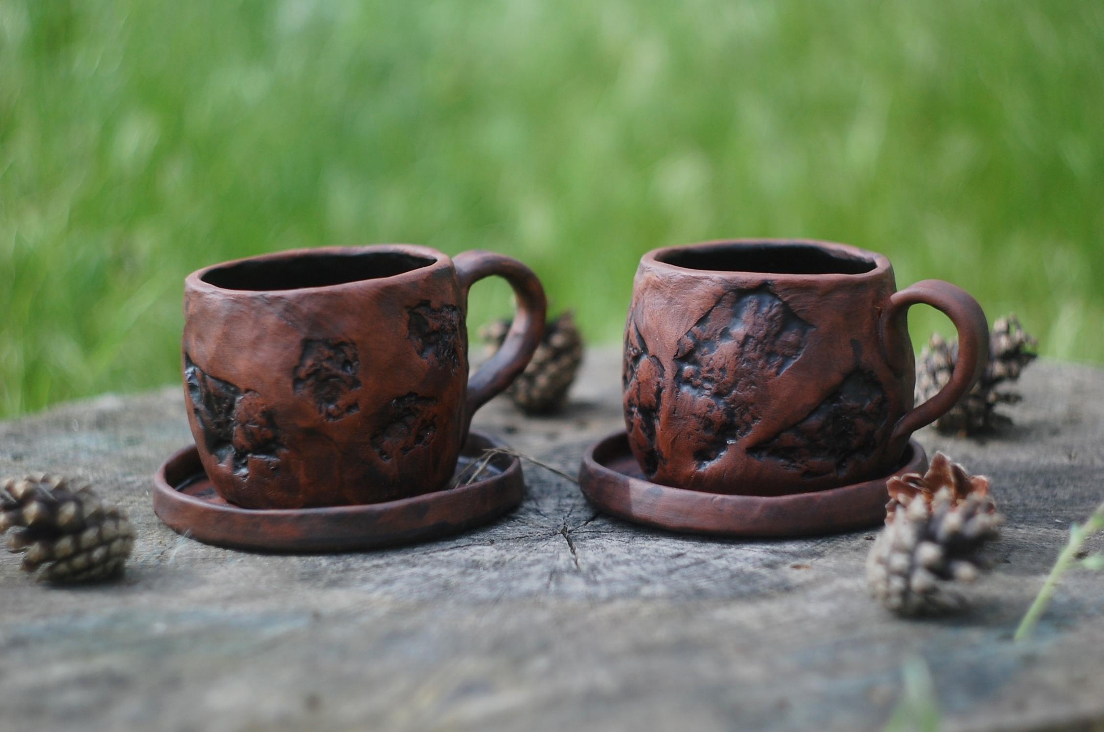 Handmade pottery ceramic mug with handle Stones art handmade pottery mug ~9oz