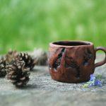 Handmade pottery ceramic mug with handle