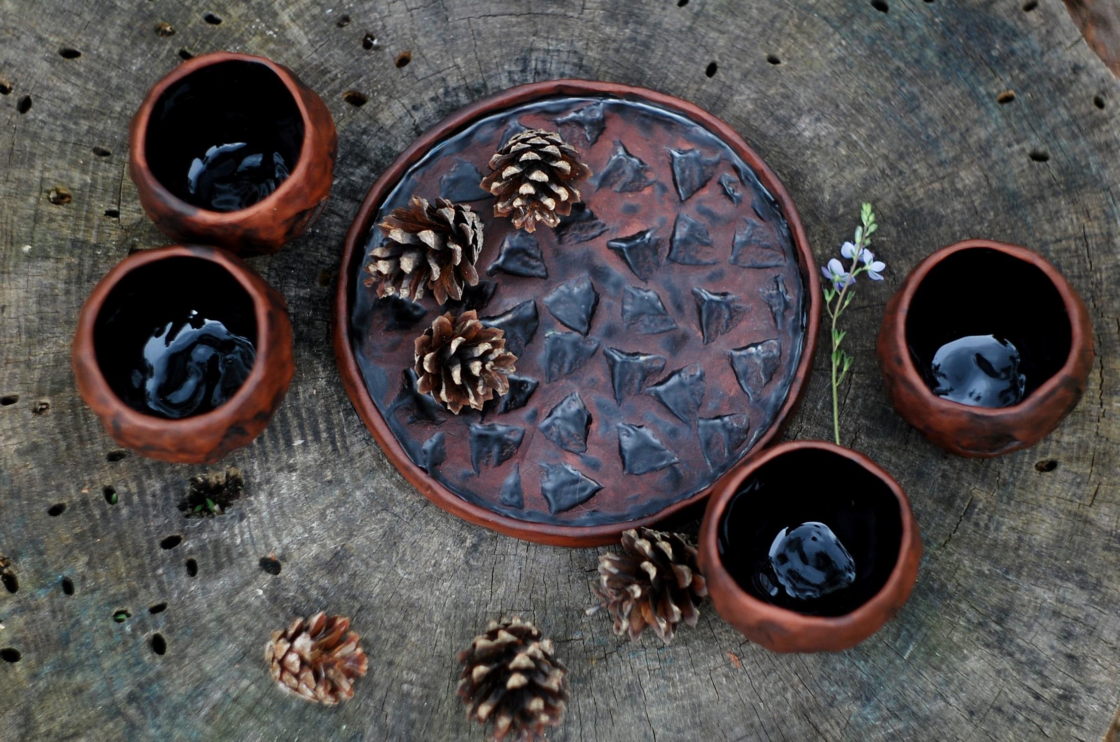 Handmade pottery mug set of 4