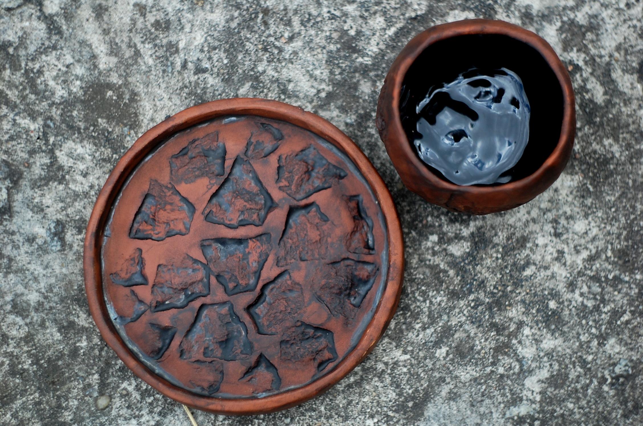 Handmade small pottery ceramic mug Stones art handmade pottery mug ~5oz