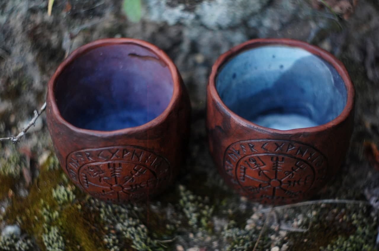 Handmade Viking compass mug Viking rune symbol handmade pottery mug ~11oz