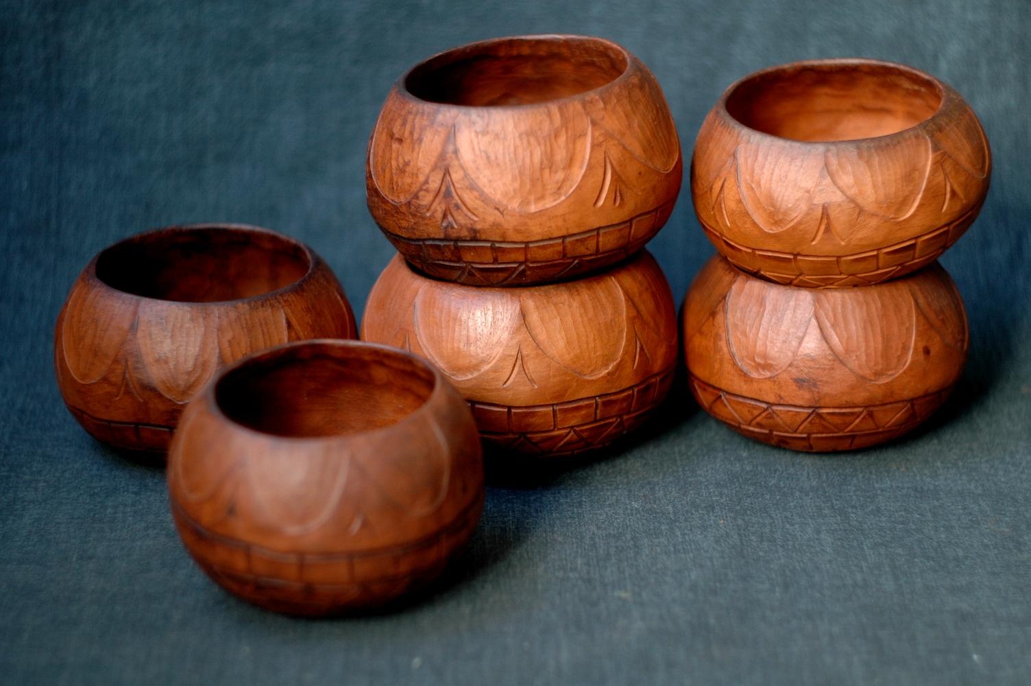 "Handmade ceramic pottery bowl in barrel shape ""Sun"" ~300ml"