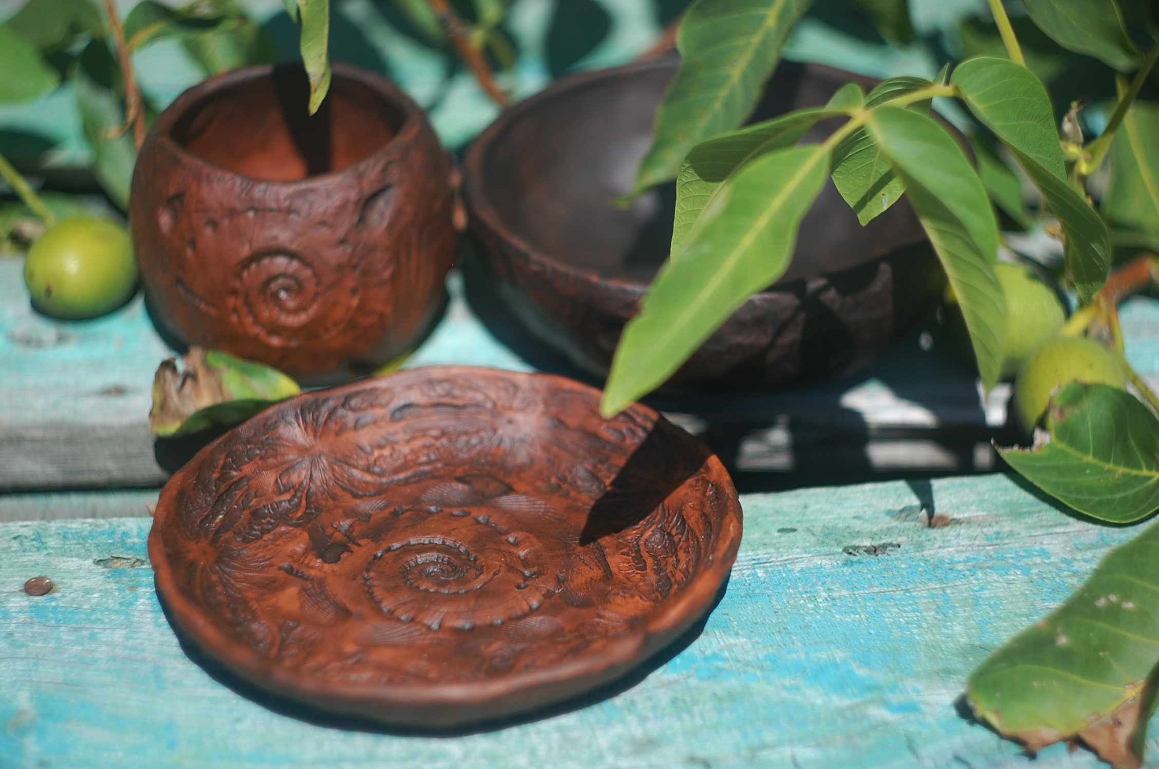 Ceramic pottery plate sea